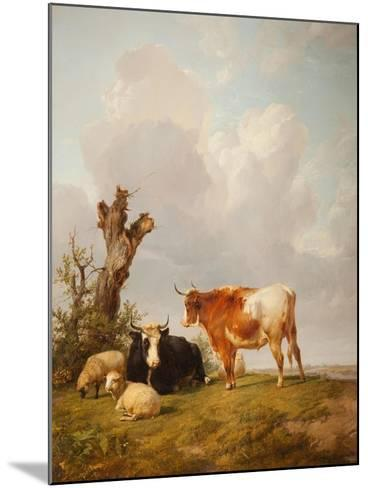 View in Stour Valley with Two Cows-Thomas Sidney Cooper-Mounted Giclee Print