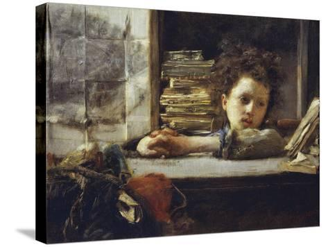 In the Study-Antonio Mancini-Stretched Canvas Print