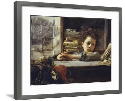 In the Study-Antonio Mancini-Framed Art Print