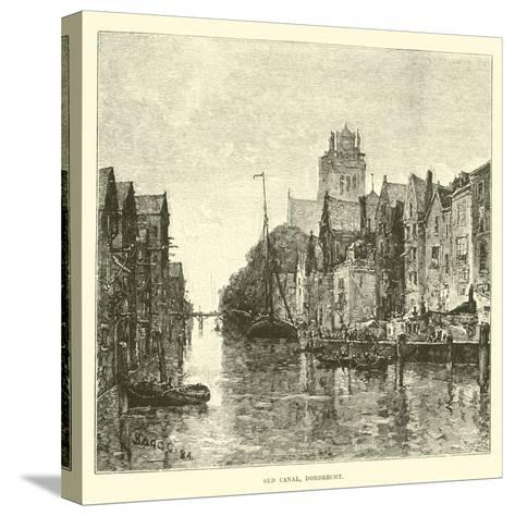 Old Canal, Dordrecht--Stretched Canvas Print