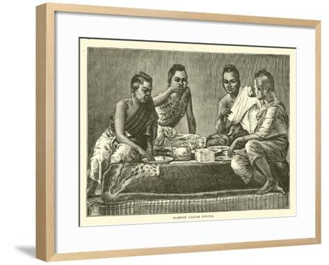 Siamese Ladies Dining--Framed Art Print