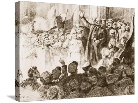Lenin's Arrival in Petrograd, April 1917--Stretched Canvas Print