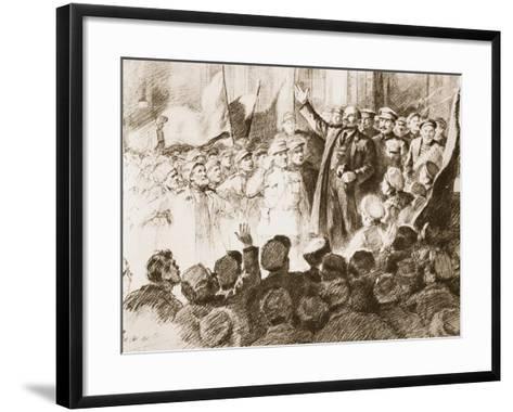 Lenin's Arrival in Petrograd, April 1917--Framed Art Print
