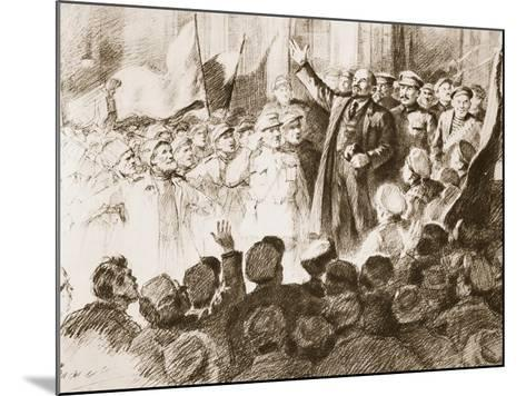 Lenin's Arrival in Petrograd, April 1917--Mounted Giclee Print