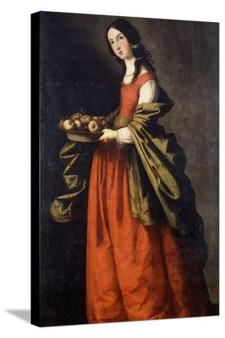 Saint Dorothea-Francisco de Zurbaran-Stretched Canvas Print