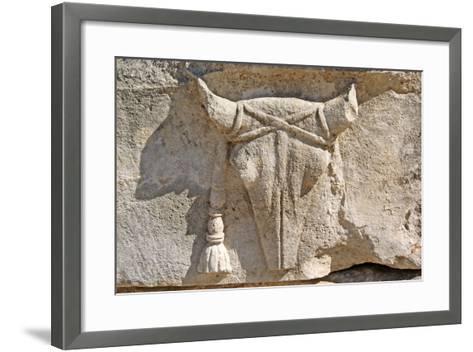 Carved Ox Skull or Bucranium, Letoon, Turkey--Framed Art Print