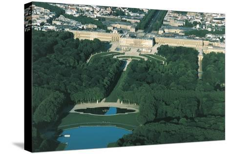 France, Aerial View of Palace of Versailles--Stretched Canvas Print