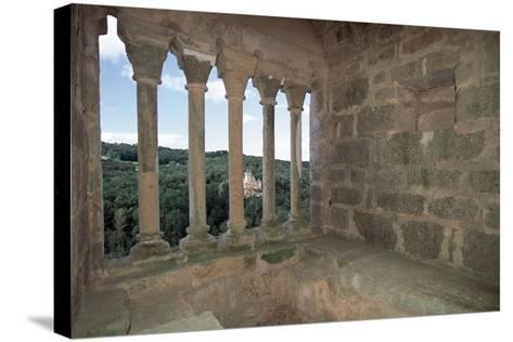 Colonnade from Commarque Castle--Stretched Canvas Print
