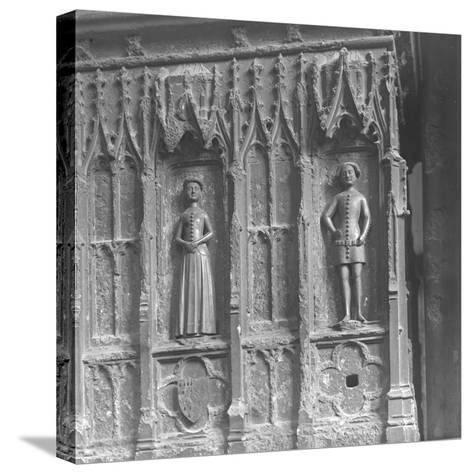 Figures on a Tomb at Westminster Abbey, London-Frederick Henry Evans-Stretched Canvas Print