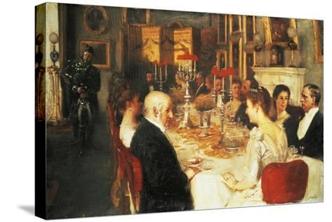 Dinner at Haddo House-Alfred Edward Emslie-Stretched Canvas Print