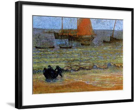 Sea Shore, Brittany, C.1890-92-Emile Jourdan-Framed Art Print
