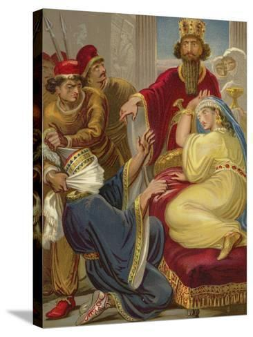 Haman Asking His Life of Queen Esther--Stretched Canvas Print
