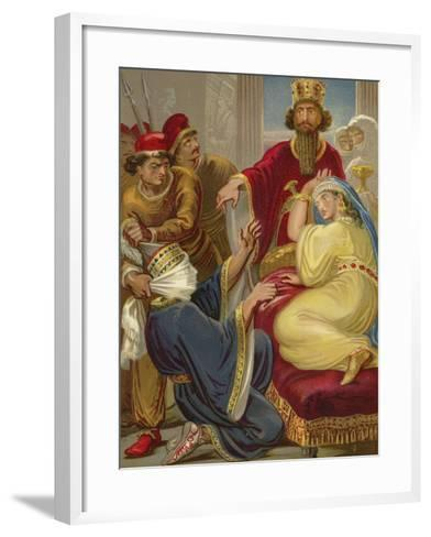 Haman Asking His Life of Queen Esther--Framed Art Print