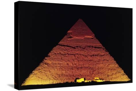 The Pyramid of Khafre at Night, Giza Necropolis--Stretched Canvas Print