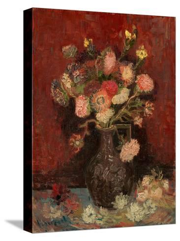 Vase with Chinese Asters and Gladioli-Vincent van Gogh-Stretched Canvas Print