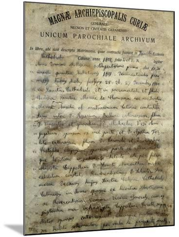 Marriage Certificate of Vincenzo Bellini's--Mounted Giclee Print