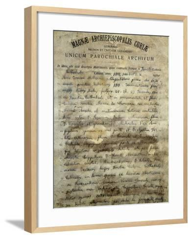 Marriage Certificate of Vincenzo Bellini's--Framed Art Print