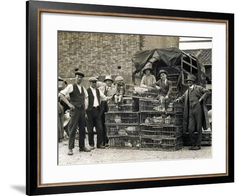 Market Vendors with Chickens--Framed Art Print