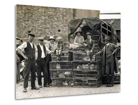 Market Vendors with Chickens--Metal Print