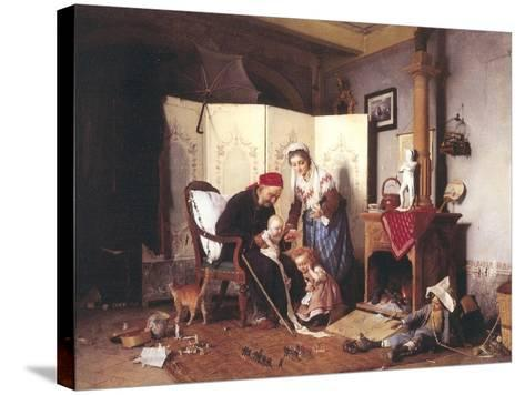 A Game of Soldiers, 1878-Gaetano Chierici-Stretched Canvas Print