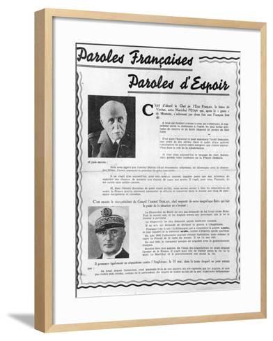 Marshal Petain--Framed Art Print