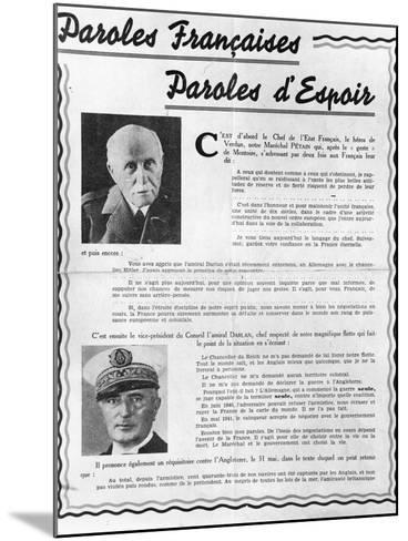 Marshal Petain--Mounted Photographic Print