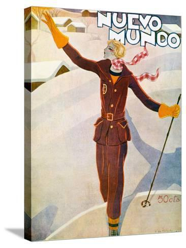 Nuevo Mundo Ski Suit and Skis, 1929--Stretched Canvas Print
