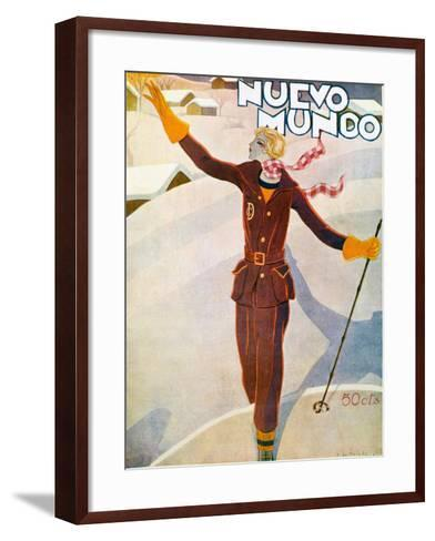 Nuevo Mundo Ski Suit and Skis, 1929--Framed Art Print