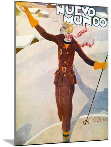 Nuevo Mundo Ski Suit and Skis, 1929--Mounted Giclee Print