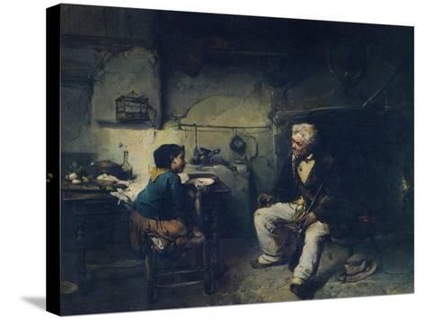 The Hunter, by Domenico Induno--Stretched Canvas Print