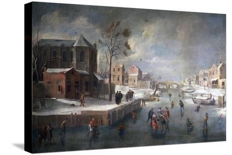 Winter Landscape with Church-Jan Wildens-Stretched Canvas Print