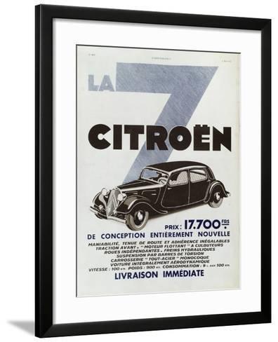 Advertisement for Citroen Motor Cars, 1934--Framed Art Print