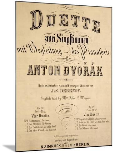 Title Page of Duets-Antonin Leopold Dvorak-Mounted Giclee Print