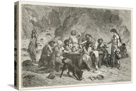 Un Repas a L'Epoque Du Bronze-Emile Antoine Bayard-Stretched Canvas Print