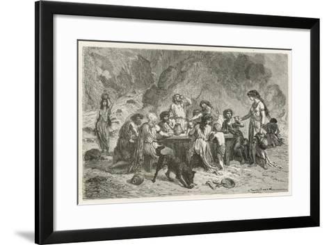 Un Repas a L'Epoque Du Bronze-Emile Antoine Bayard-Framed Art Print