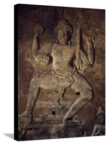 Cambodia, Relief in Prasat Kravan Temple, Angkor--Stretched Canvas Print