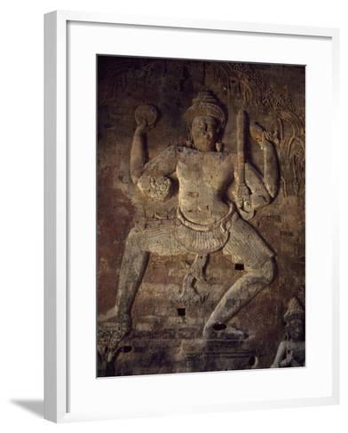 Cambodia, Relief in Prasat Kravan Temple, Angkor--Framed Art Print