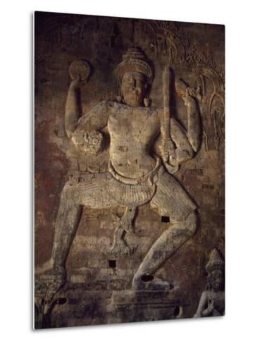 Cambodia, Relief in Prasat Kravan Temple, Angkor--Metal Print