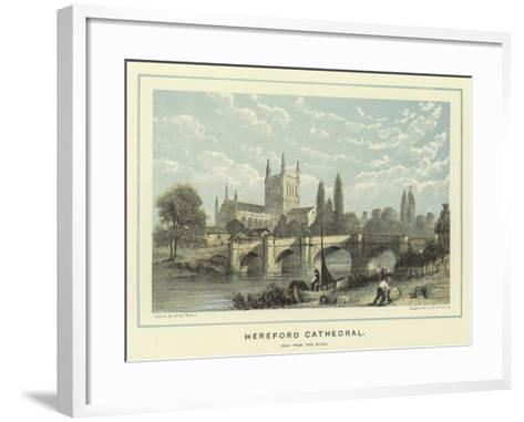 Hereford Cathedral, View from the River-Benjamin Baud-Framed Art Print