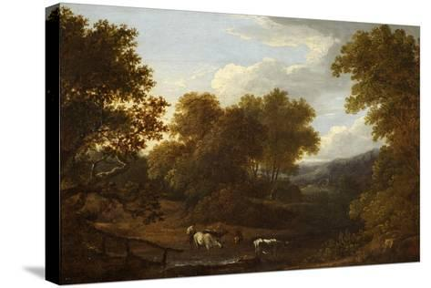 View of Weston Church and Lansdown-Benjamin Barker-Stretched Canvas Print
