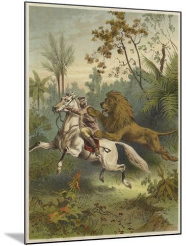 African Traveller Attacked by a Lion--Mounted Giclee Print