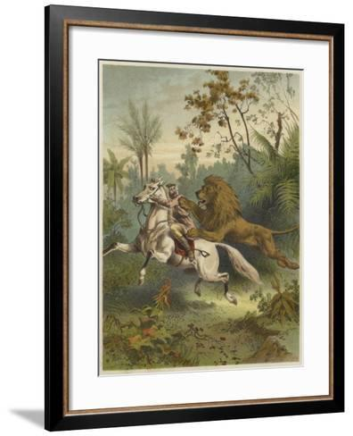 African Traveller Attacked by a Lion--Framed Art Print