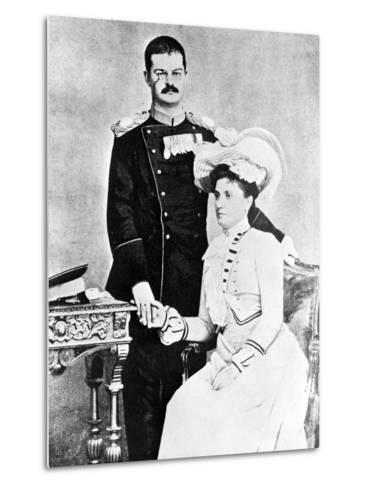 King Alexander and Queen Draga of Serbia, C.1900--Metal Print