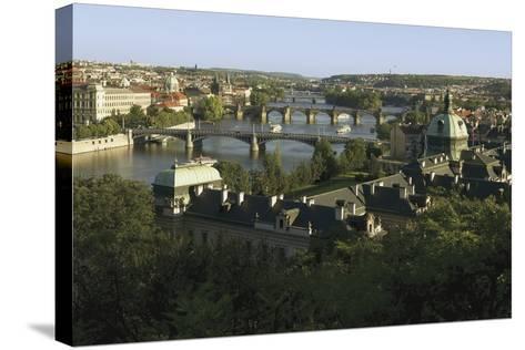Prague Bridges and Straka Academy, Czech Republic--Stretched Canvas Print