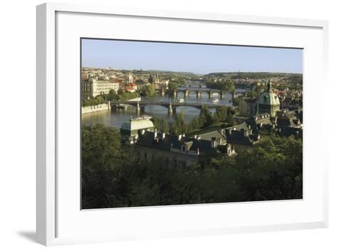 Prague Bridges and Straka Academy, Czech Republic--Framed Art Print