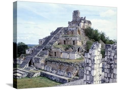 Pyramid in Edzna--Stretched Canvas Print