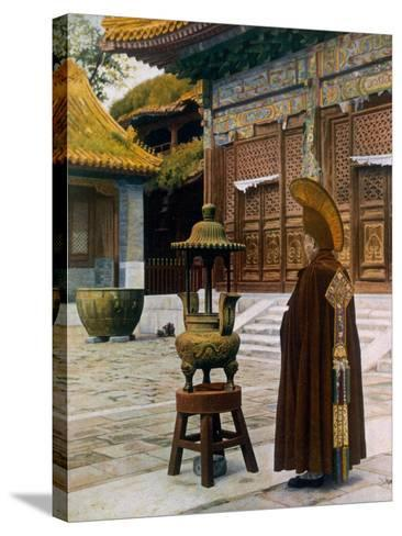 Prayer Hour at the Lama Temple, Peking, 1927--Stretched Canvas Print