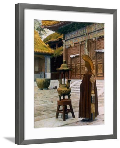 Prayer Hour at the Lama Temple, Peking, 1927--Framed Art Print
