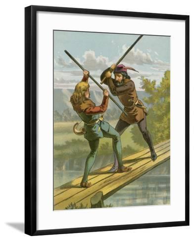 Robin Hood's Combat with Little John--Framed Art Print
