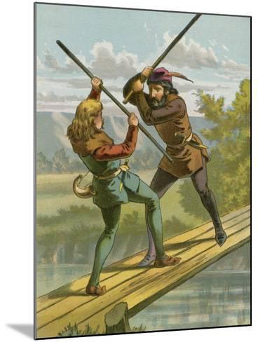 Robin Hood's Combat with Little John--Mounted Giclee Print